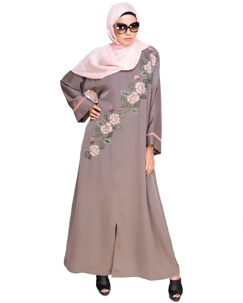 Enchanted Floral Embroidery Dubai Style Abaya