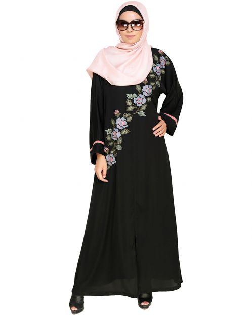 Enchanted Floral Embroidery Dubai Style Abaya