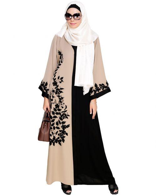Wanderlust Beige & Black Embroidery  Dubai Style  Abaya