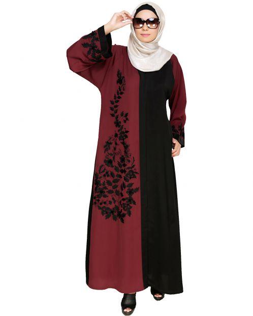 Wanderlust Wine & Black Embroidery Dubai Style Abaya