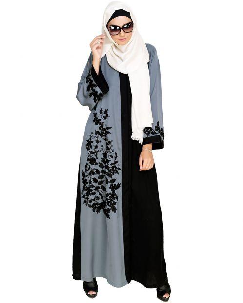 Wanderlust Grey & Black Embroidery  Dubai Style Abaya