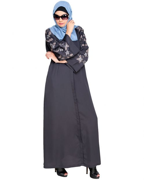 Alluring Floral Embroidery Dubai Style Dark Grey Abaya