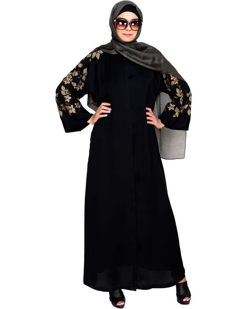 Alluring Floral Embroidery Dubai Style Black Abaya