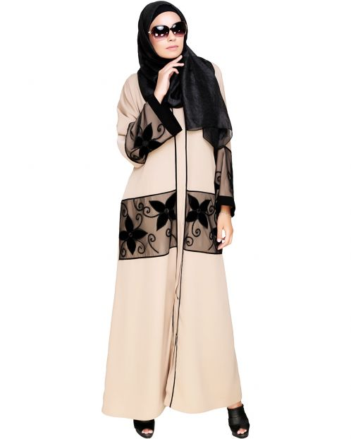 Beige Floral Lace Embroidered Dubai Style Abaya