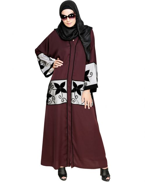 Deep Wine Floral Lace Embroidered Dubai Style Abaya