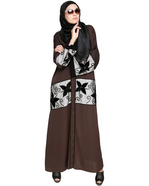 Dark Brown Floral Lace Embroidered Dubai Style Abaya