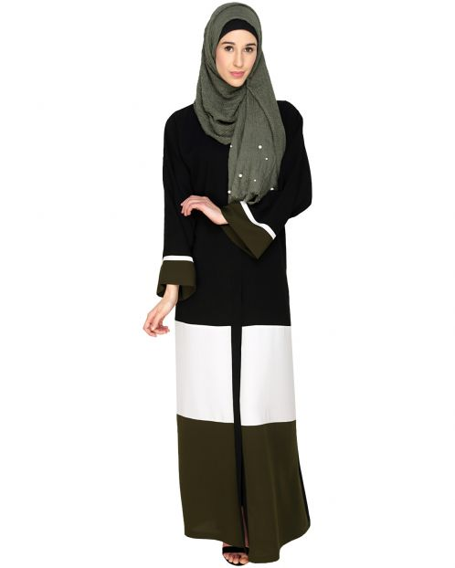 Triple Color Block Dubai Style Abaya
