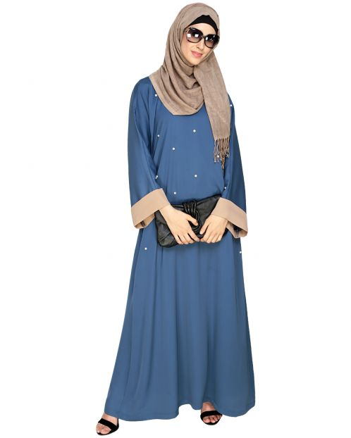 Pearl Delight Dubai Style Blue Abaya