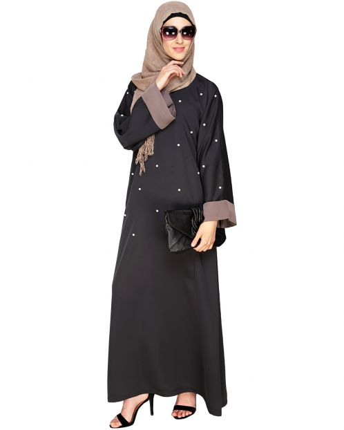 Pearl Delight Dubai Style Dark Grey Abaya