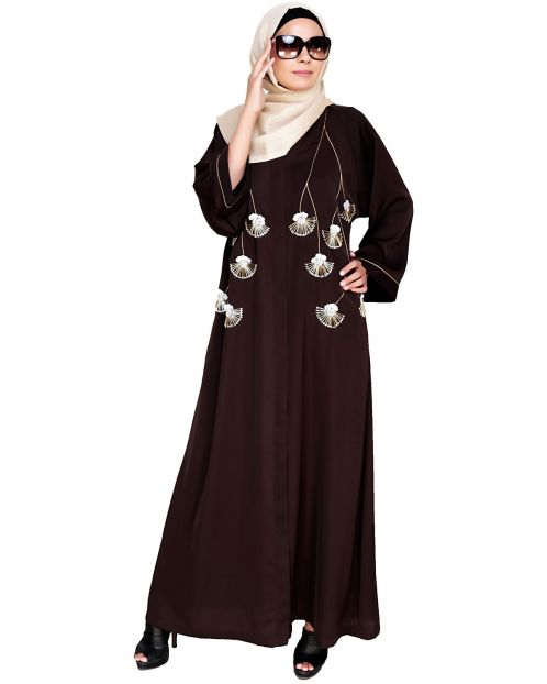 Hanging Tulip Embroidered  Dubai Style Abaya