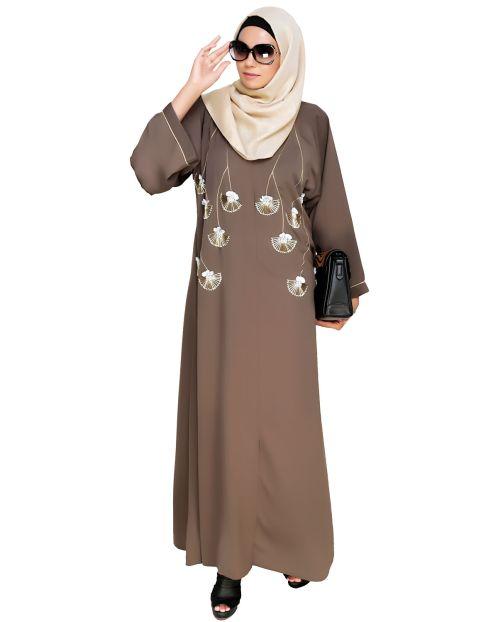Hanging Tulip Embroidered Dubai Style Abaya