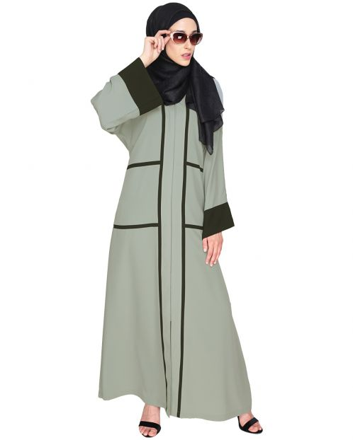 Elegant Sage Green Dubai Style Abaya with Black Detailing