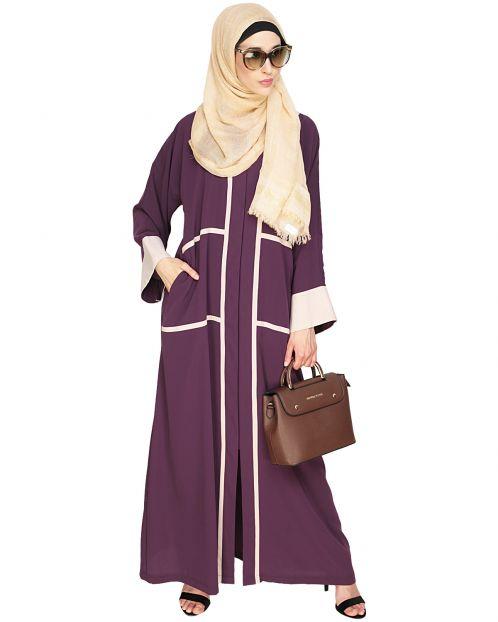 Elegant Purple Dubai Style Abaya with Beige Detailing