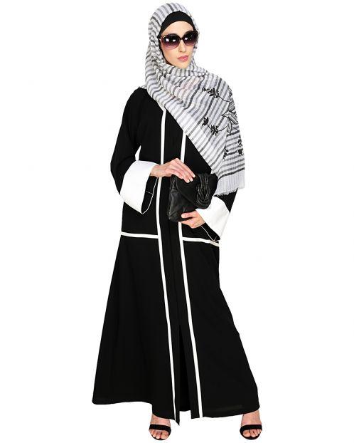 Elegant Black Dubai Style Abaya with White Detailing