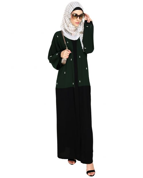 Pearl Drops Dubai Style Green Abaya