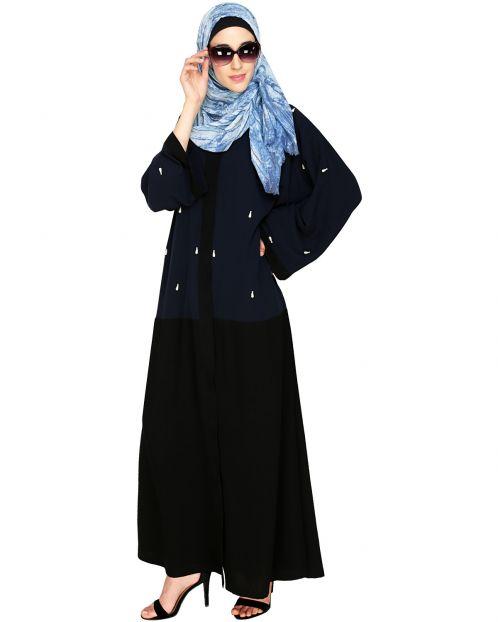 Pearl Drops Dubai Style Blue Abaya