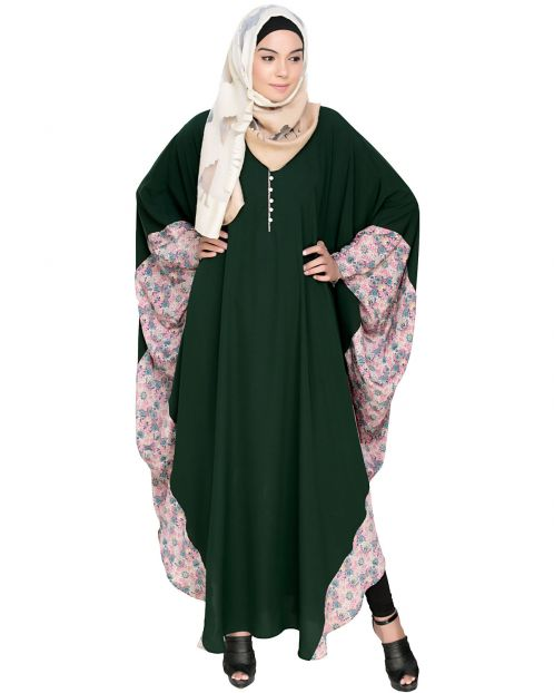 Floret Printed Dark Green Kaftan