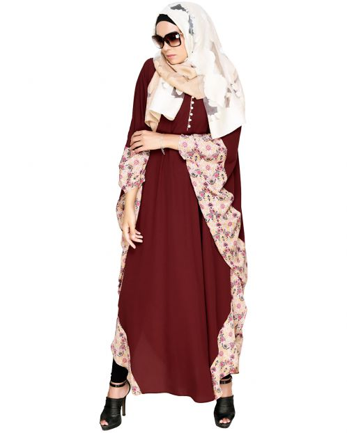 Floret Printed Brown Kaftan