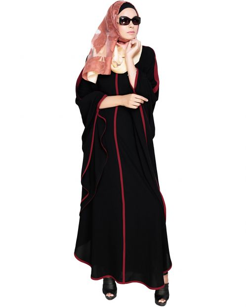 Modish Black Kaftan with Wine Detailing