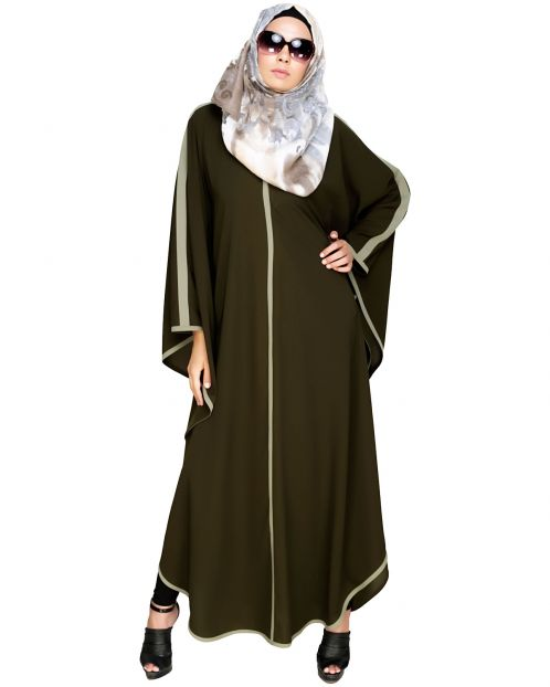 Modish Olive Kaftan with Green Detailing