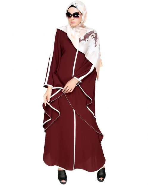 Modish Brown Kaftan with White Detailing