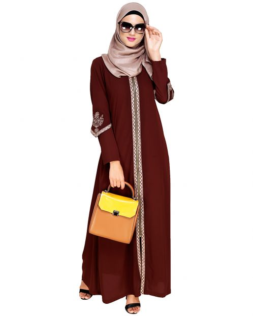 Bygone Front Zipper Brown Abaya