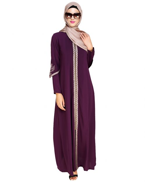 Bygone Front Zipper Purple Abaya