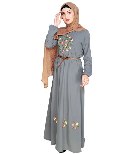 Plush Embroidered Grey Maxi Dress Abaya