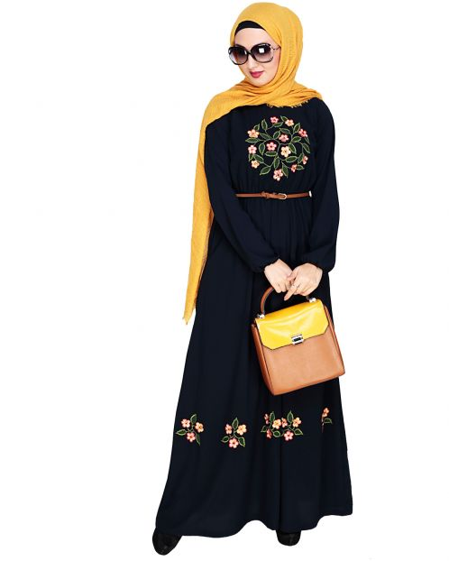 Plush Embroidered Dark Blue Maxi Dress Abaya