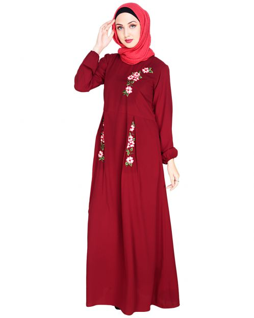 Box Pleated Wine Abaya