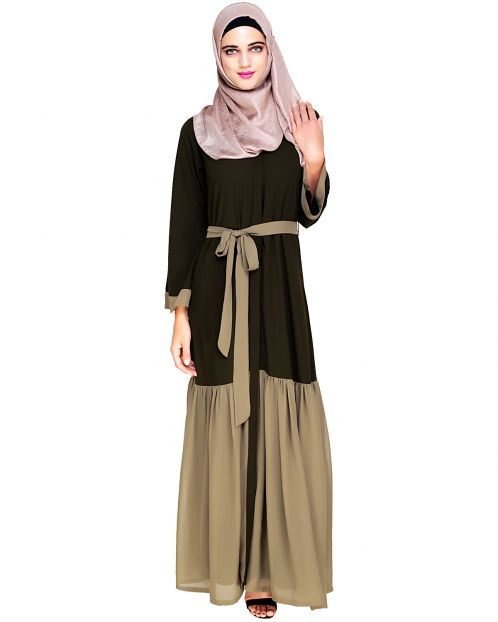 Glory Muster Olive and Mint Green Abaya