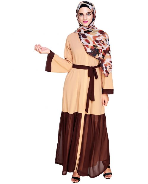 Glory Muster Dark Beige and Brown Abaya