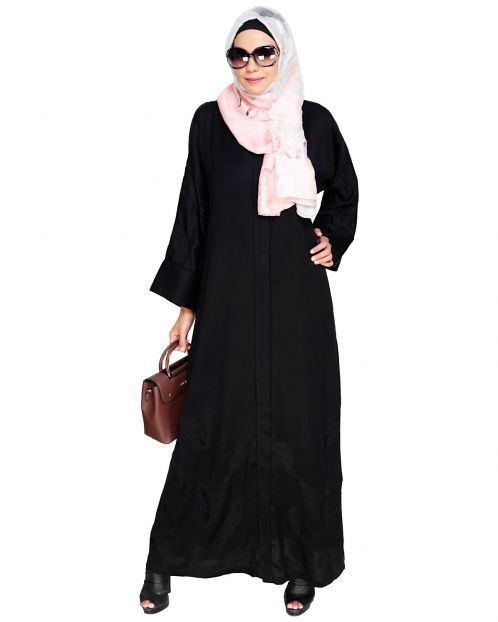 Feather Embroidered Dubai Style Black Abaya