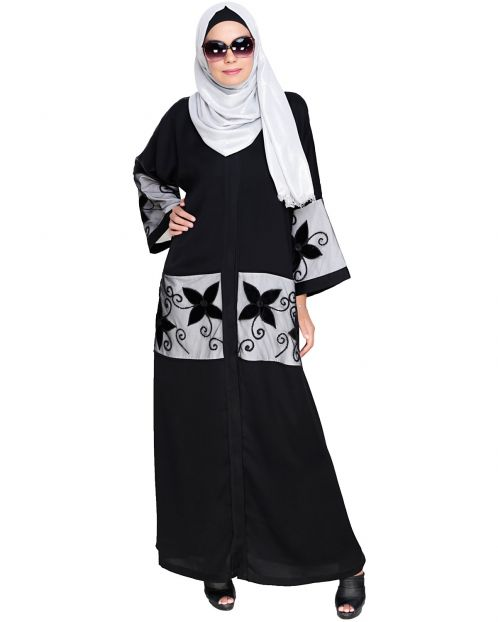Black Floral Lace Embroidered Dubai Style Abaya