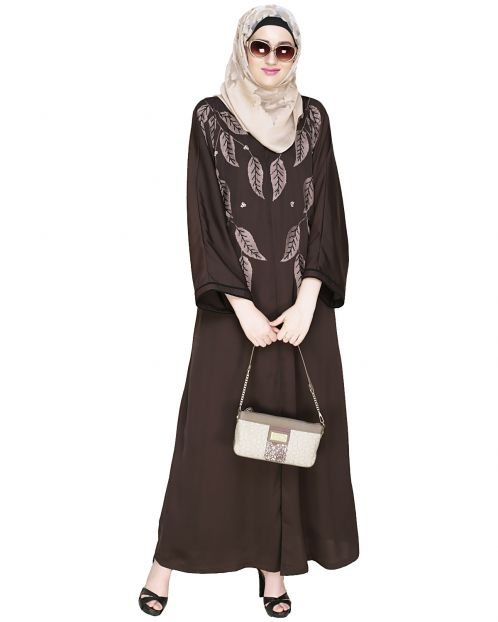 Blossomy Dubai Style Dark Brown Abaya