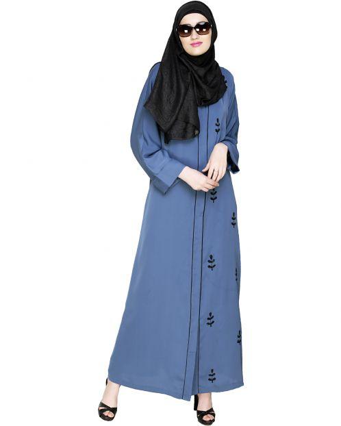 Botanic Blue Beaded Dubai Style Abaya