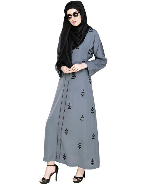 Botanic Grey Beaded Dubai Style Abaya