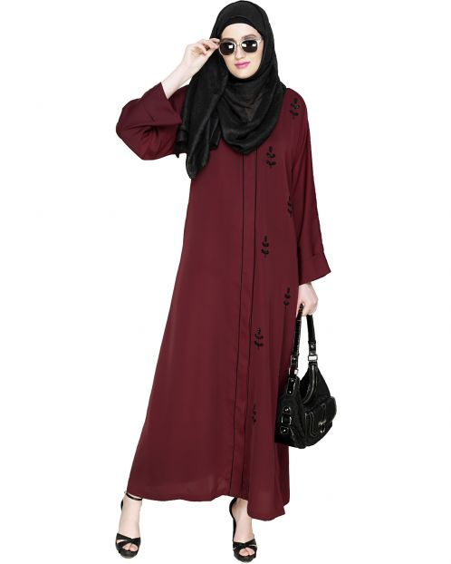 Botanic Deep Wine Beaded Dubai Style Abaya