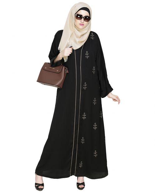 Botanic Black Beaded Dubai Style Abaya