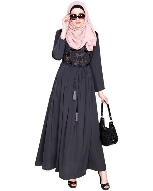 Sylvan Pleated Dubai Style Grey Abaya