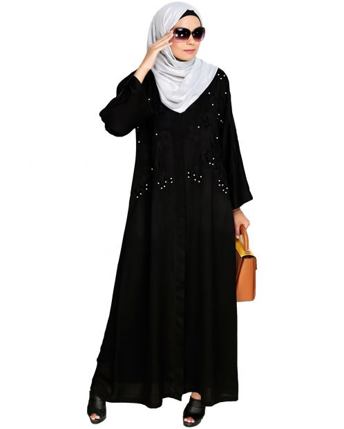 Pearl and Flora Embroidered Dubai Style Black Abaya