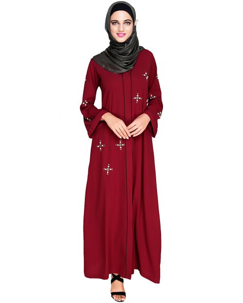 Newfangled Pearl Embroidered Wine Abaya