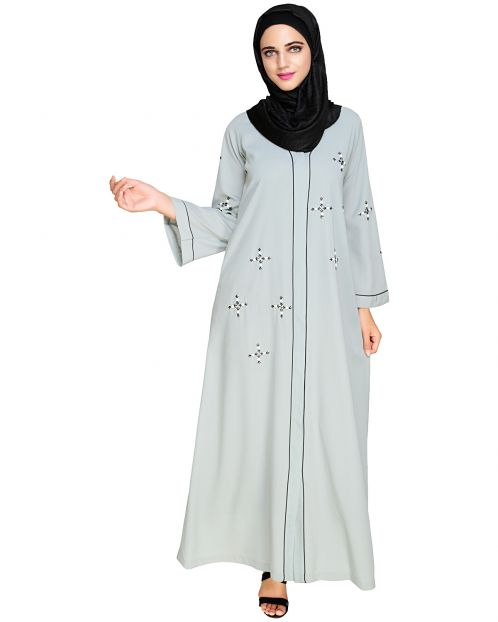 Newfangled Pearl Embroidered  Sage Green Abaya