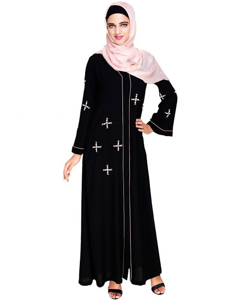 Newfangled Pearl Embroidered Black Abaya