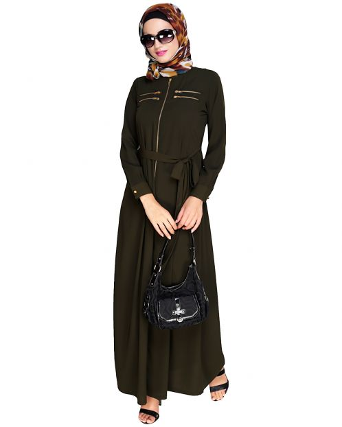 Metallic Sheen Front Zipper Olive Abaya