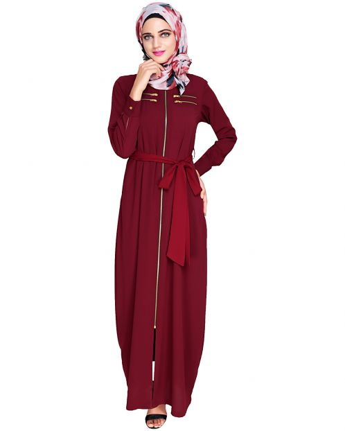 Metallic Sheen Front Zipper Wine Abaya