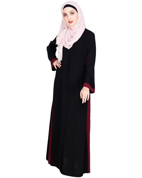 Side Panelled Black Abaya