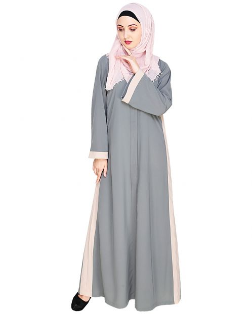 Side Panelled Grey Abaya