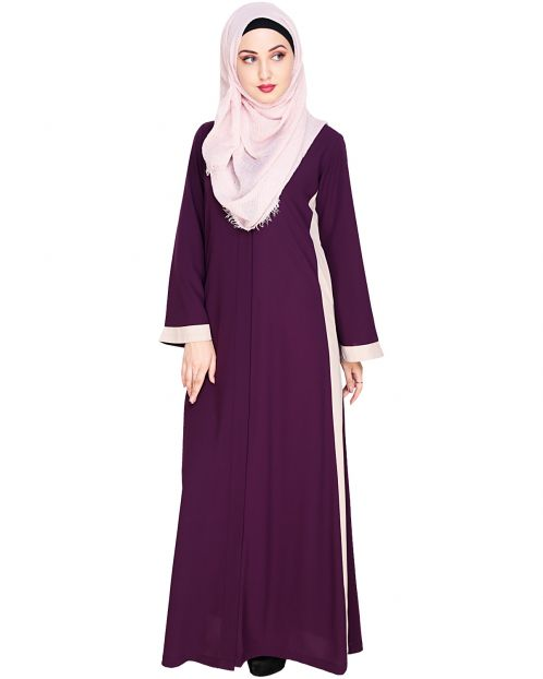 Side Panelled Purple Abaya