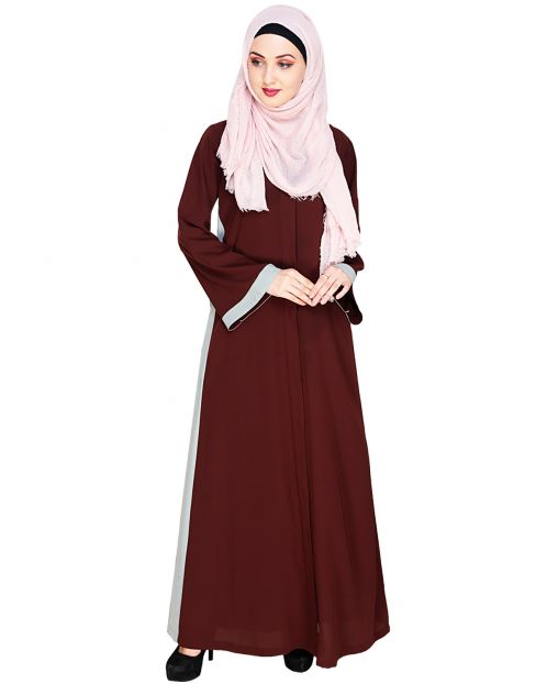 Side Panelled Brown Abaya